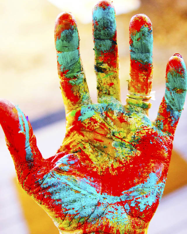 Brightly Painted Hand By Rosemary Pierce Modern Art
