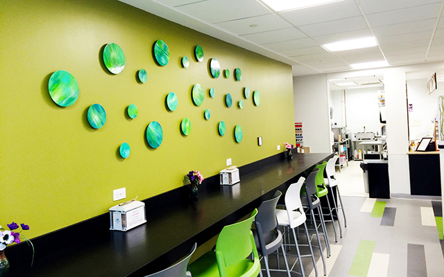 Green circle paintings on wood, in office break room