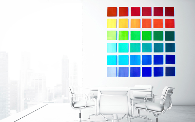 Rainbow ombre wall decor with square blocks