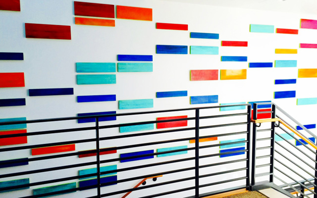 DNA-inspired abstract wall art installation