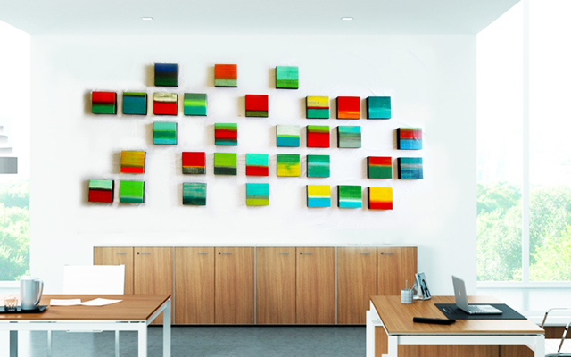 Colorful painted wood blocks in contemporary office