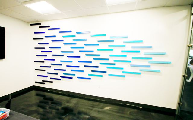 Blue ombre wall sculpture, consisted of painted 3d rectangle pieces