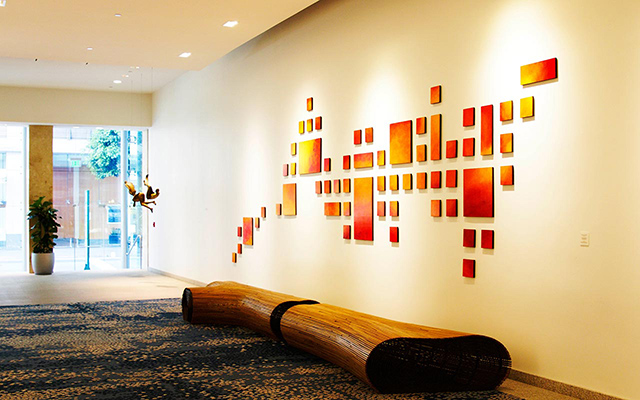 Geometric art installation in warm colors
