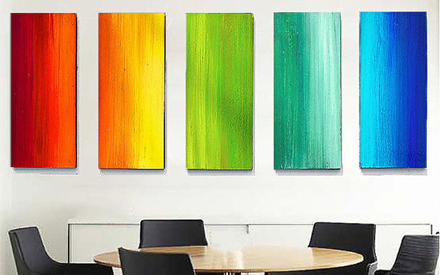 Rainbow ombre painting, spread across 5 wood panels