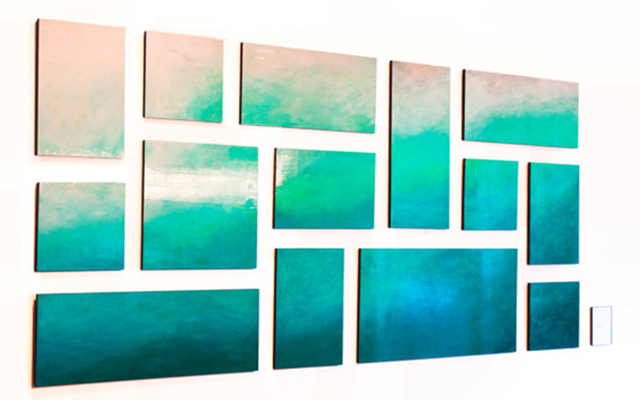 Abstract painting of blues and greens, titled Ethereal Sea