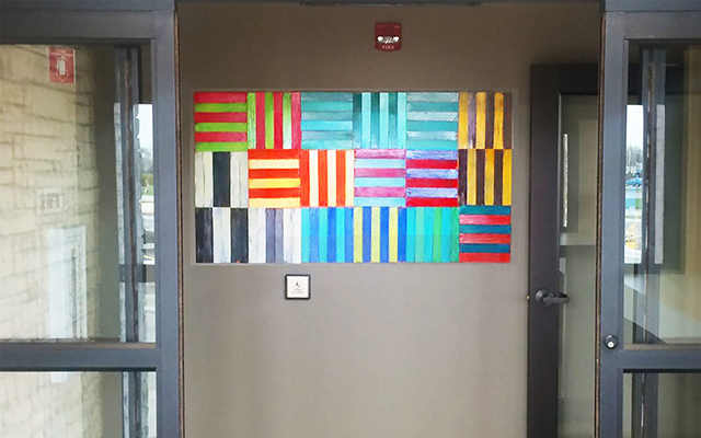 3-dimensional wall art in hotel entry