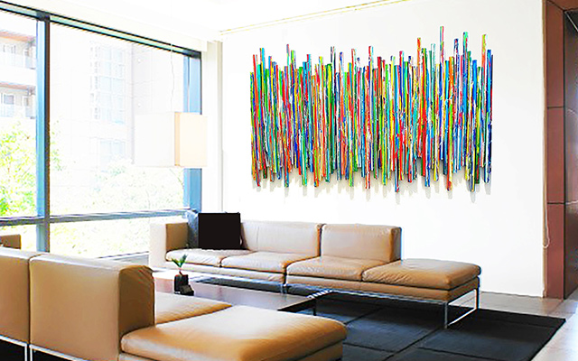 Abstract drip painting hanging in a waiting room