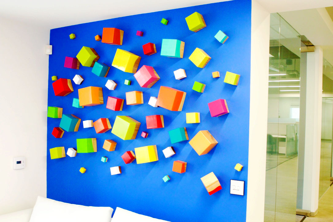 Thinking Out of the Cube | Custom 3D Wall Sculpture | Spellbound | rosemary pierce modern art