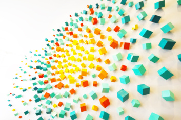 Colorful 3-dimensional cube art installation